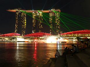 hotel Marina Bay Sands in the night - laser show