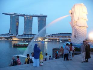 Merlion in Singapore and Marina Bay Sands